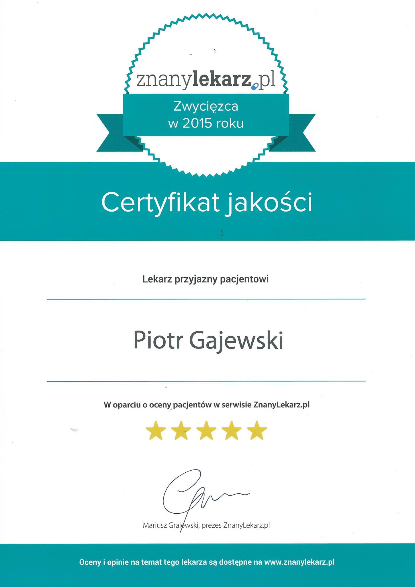 Certyfikat znany lekarz
